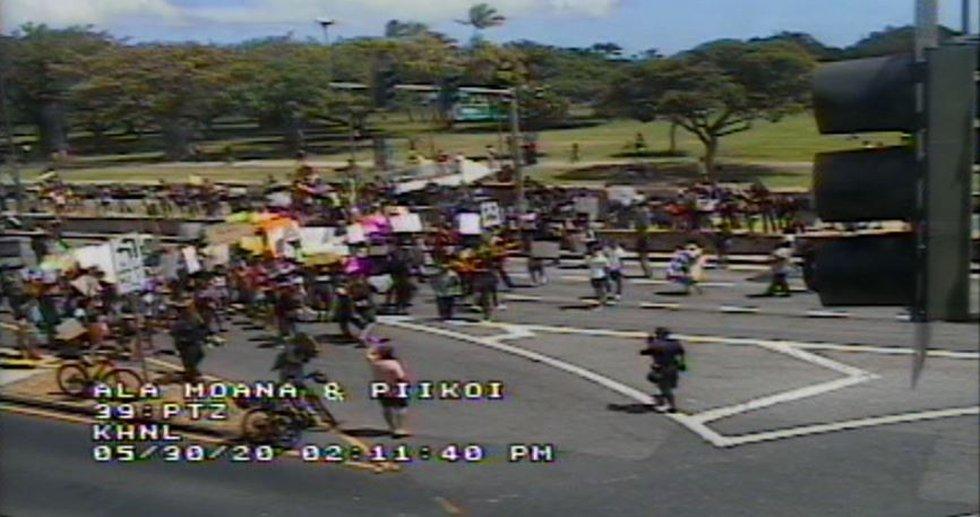 Hundreds of protesters spilled onto the streets near Ala Moana Beach Park Saturday.