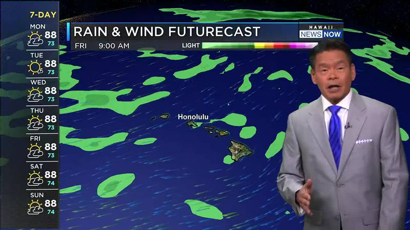 Windward areas may see fewer showers, but winds will be light enough for clouds to build up...