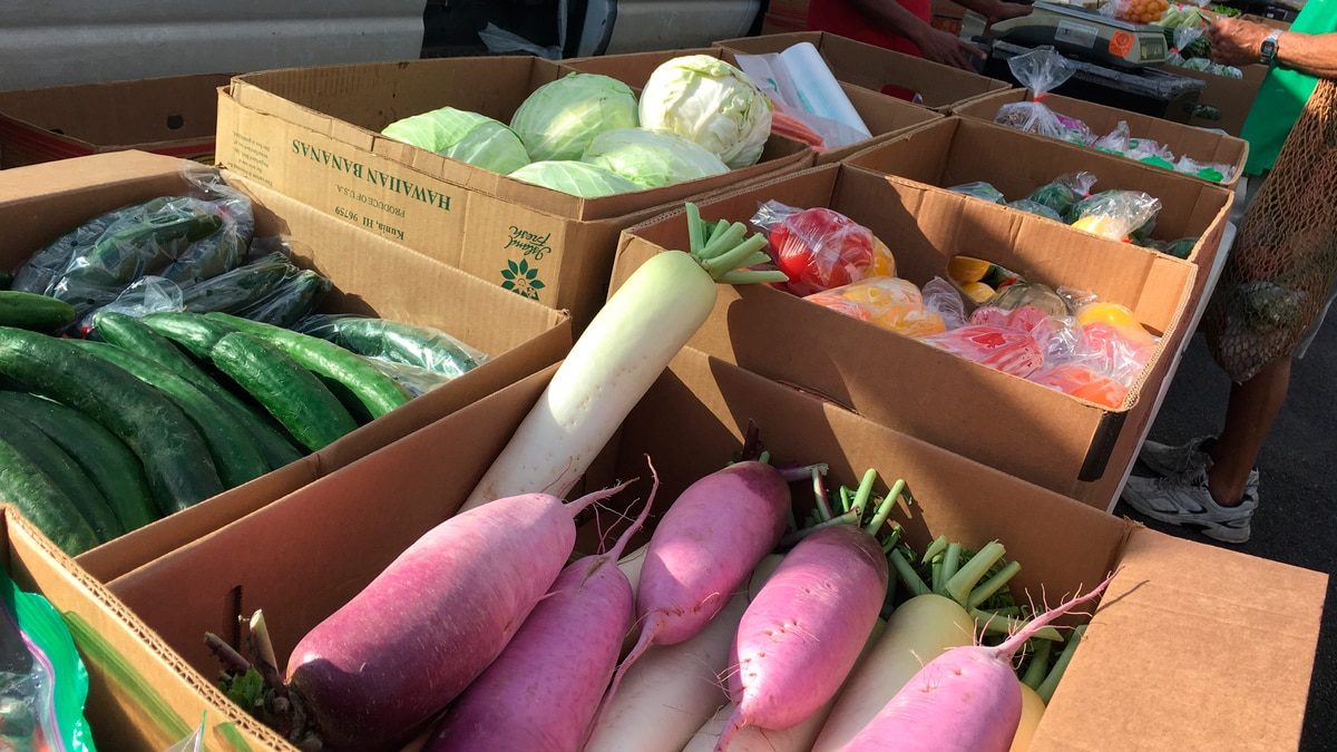 Fresh local produce is among the many items sold at the market.