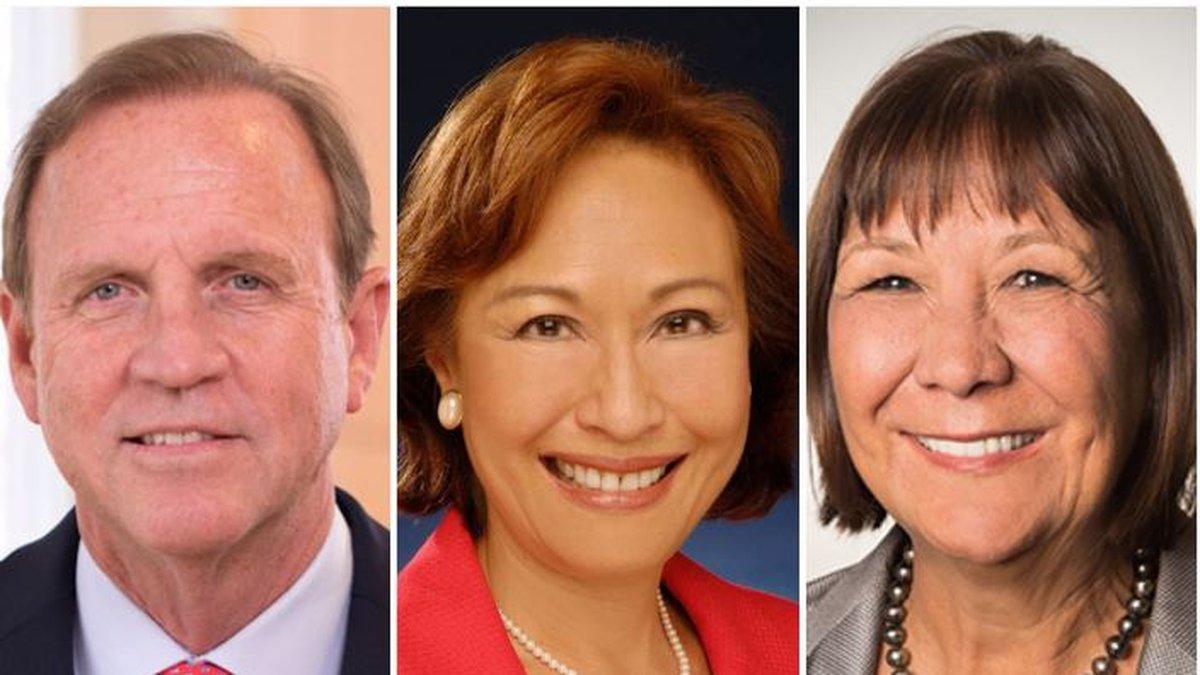 Kamehameha School Trustee Candidates.  Left to right: Anton Krucky, Coralie Chun Matayoshi and...