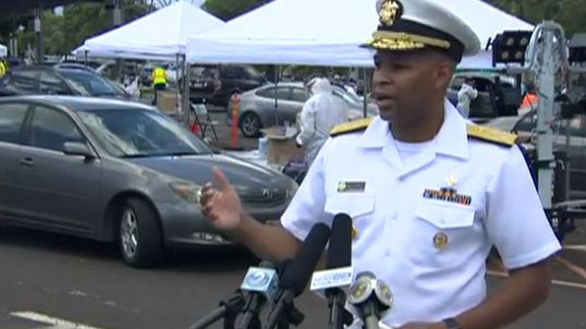 US Surgeon General Jerome Adams was in Hawaii in August to discuss surge testing.