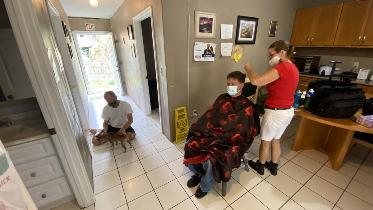 Veterans who once struggled with homelessness got haircuts Sunday.