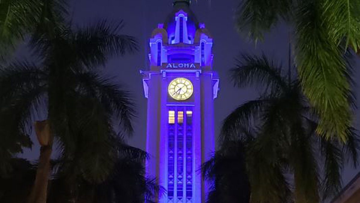 Aloha Tower will be illuminated in blue to honor two officers killed in an ambush.