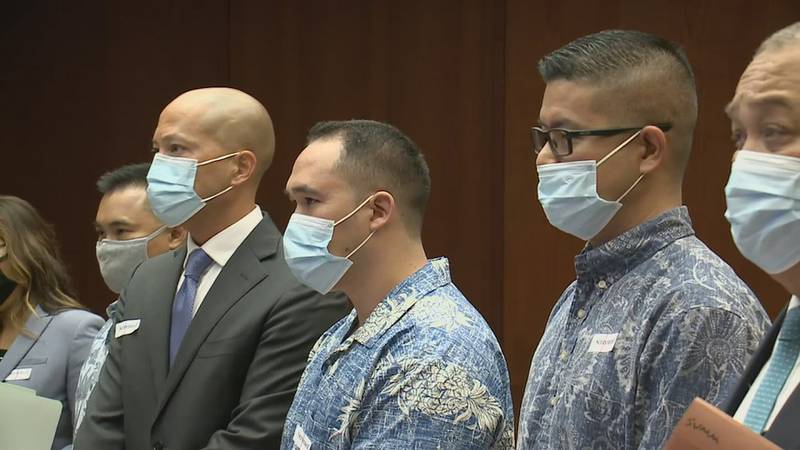 Christopher Fredeluces, Zackary Ah Nee and Geoffrey Thom appear with their attorneys in court.