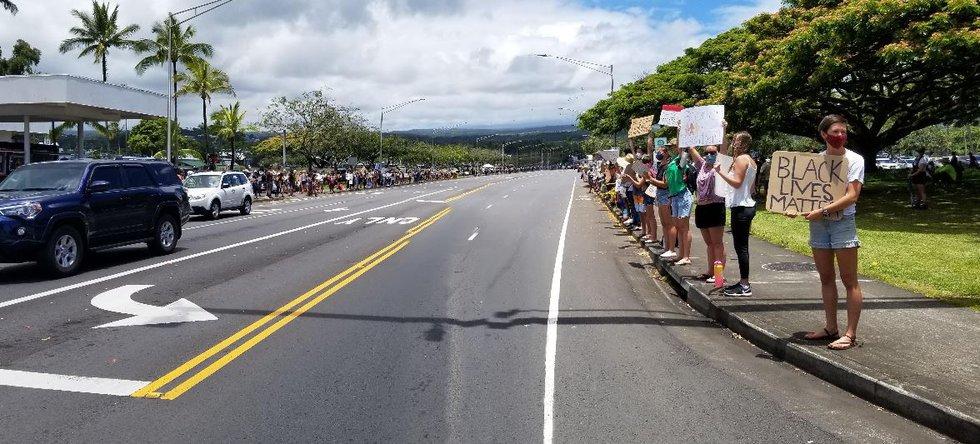 An impressive crowd lined Kamehameha Ave in Hilo in support of Black Lives Matter.