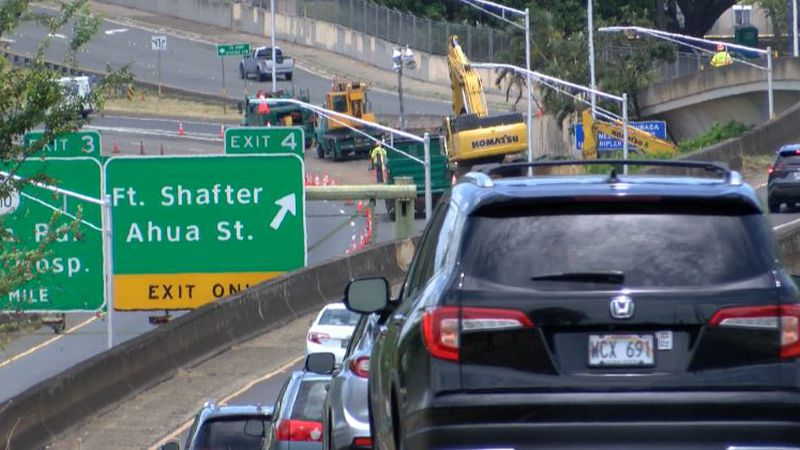 Two left lanes westbound are closed as crews perform repairs.