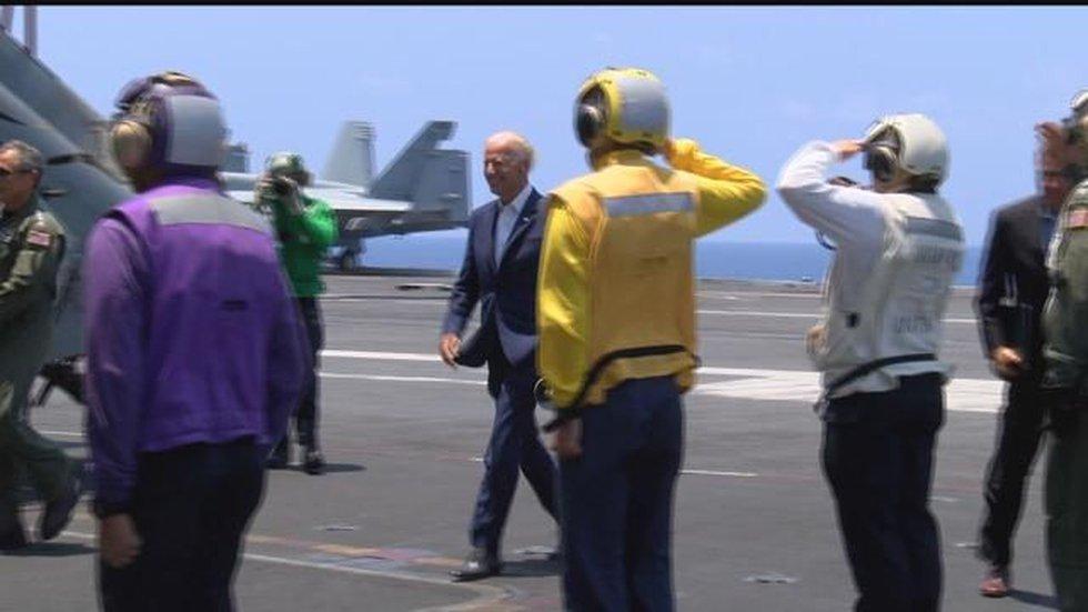 V.P. Biden aboard the U.S.S. Stennis (Image: Hawaii News Now)