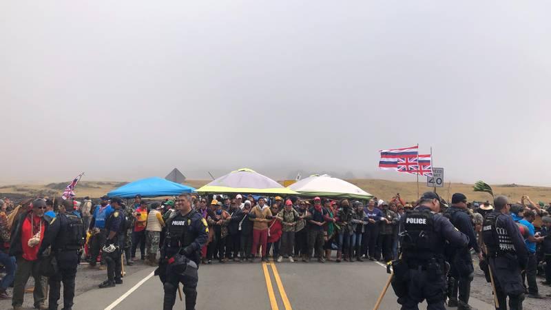 File photo of 2019 protests at Mauna Kea.