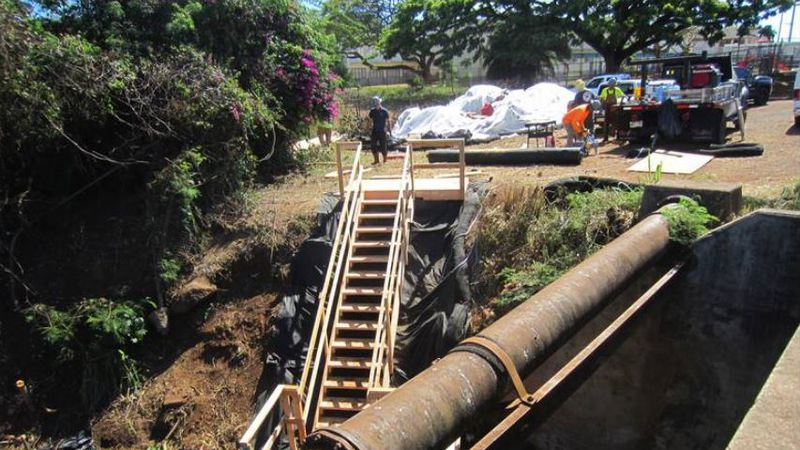 Construction zone surrounding the Waialua Bridge