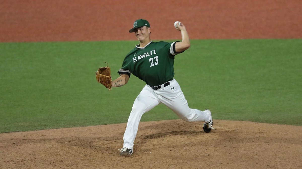 Jeremy Wu-Yelland pitches in a game for the University of Hawaii baseball team.