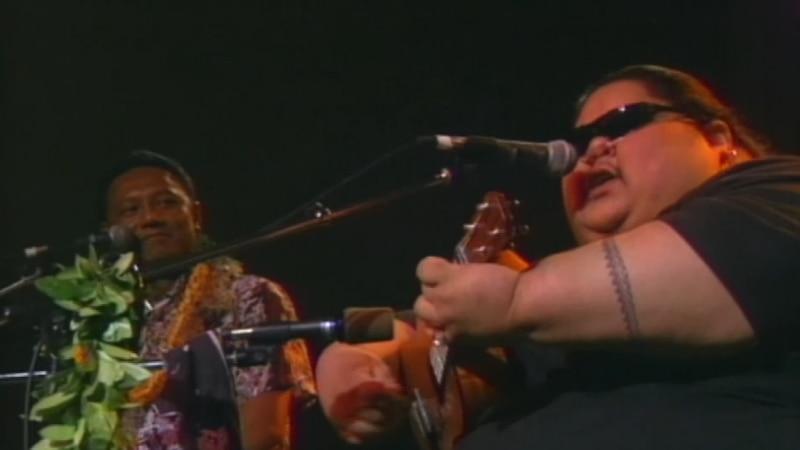 The Makaha Sons of Niihau joined IZ onstage at his 1996 Na Hoku Hanohano awards performance of...