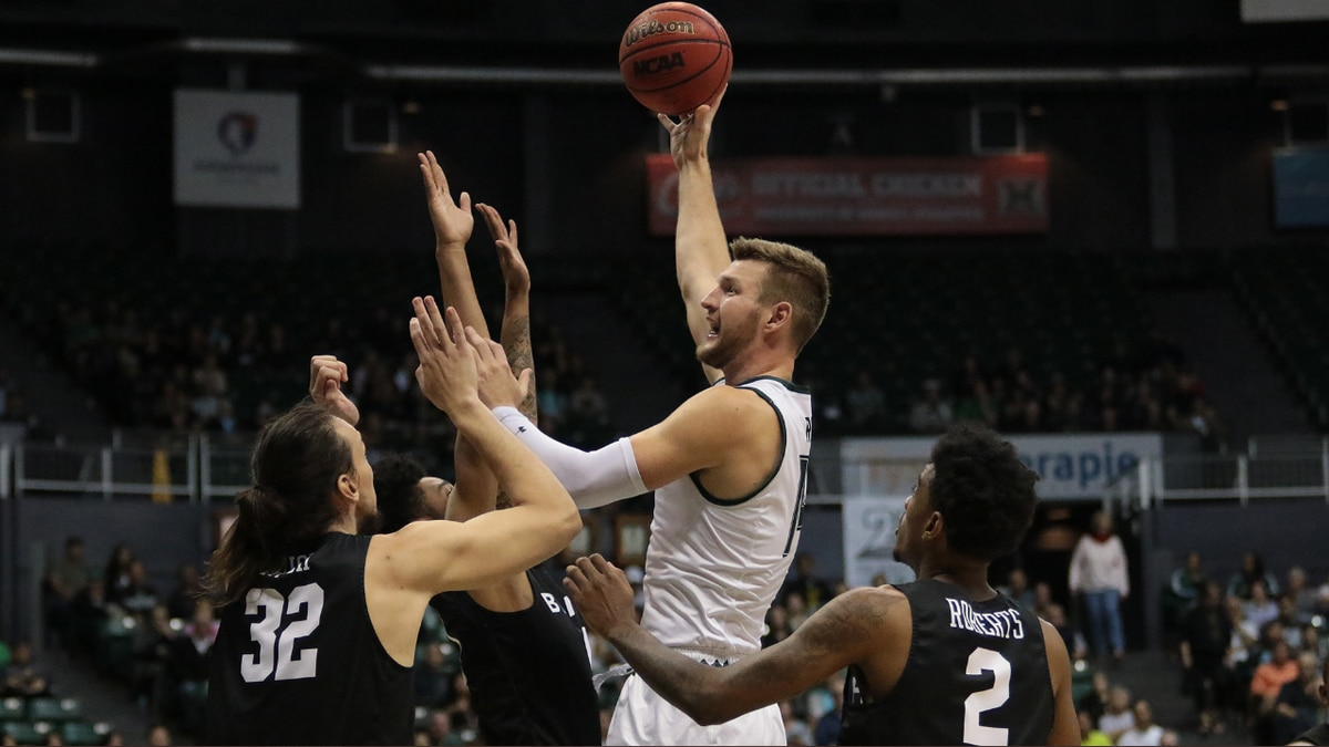 UH's Zigmars Raimo attempts lay up in second half of Big West match-up against Long Beach...