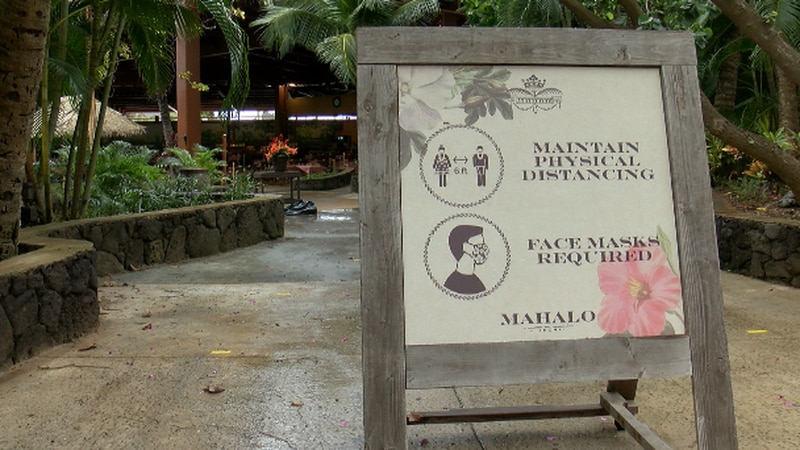 The Polynesian Culture Center put up signs to remind people to wear their mask and social...