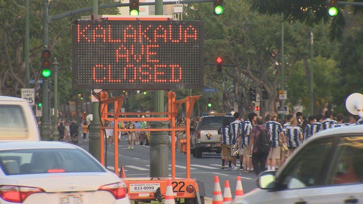 A road closure in Waikiki for a recent parade down Kalakaua Avenue. (Photo: Hawaii News Now)