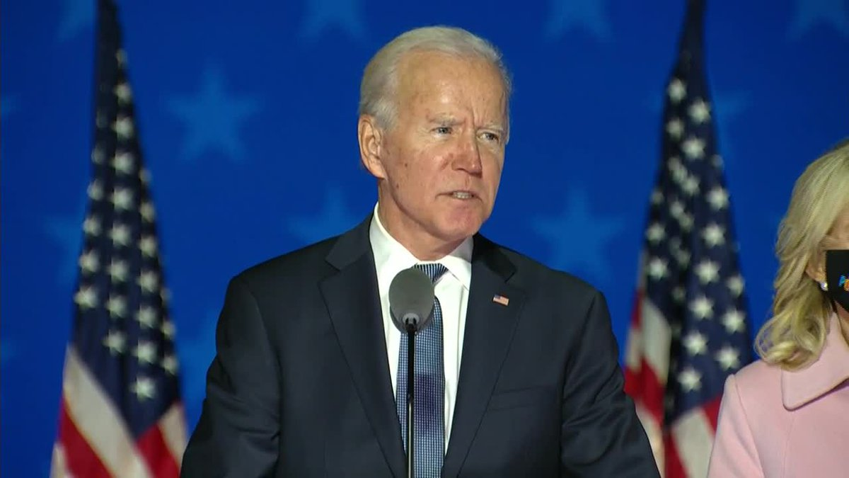 Joe Biden speaks as the U.S. awaits the results of the election.