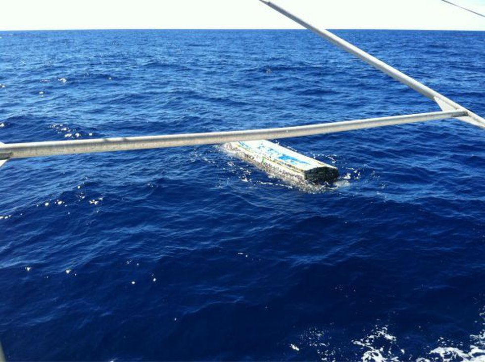 The skiff as it was first found north of Maui