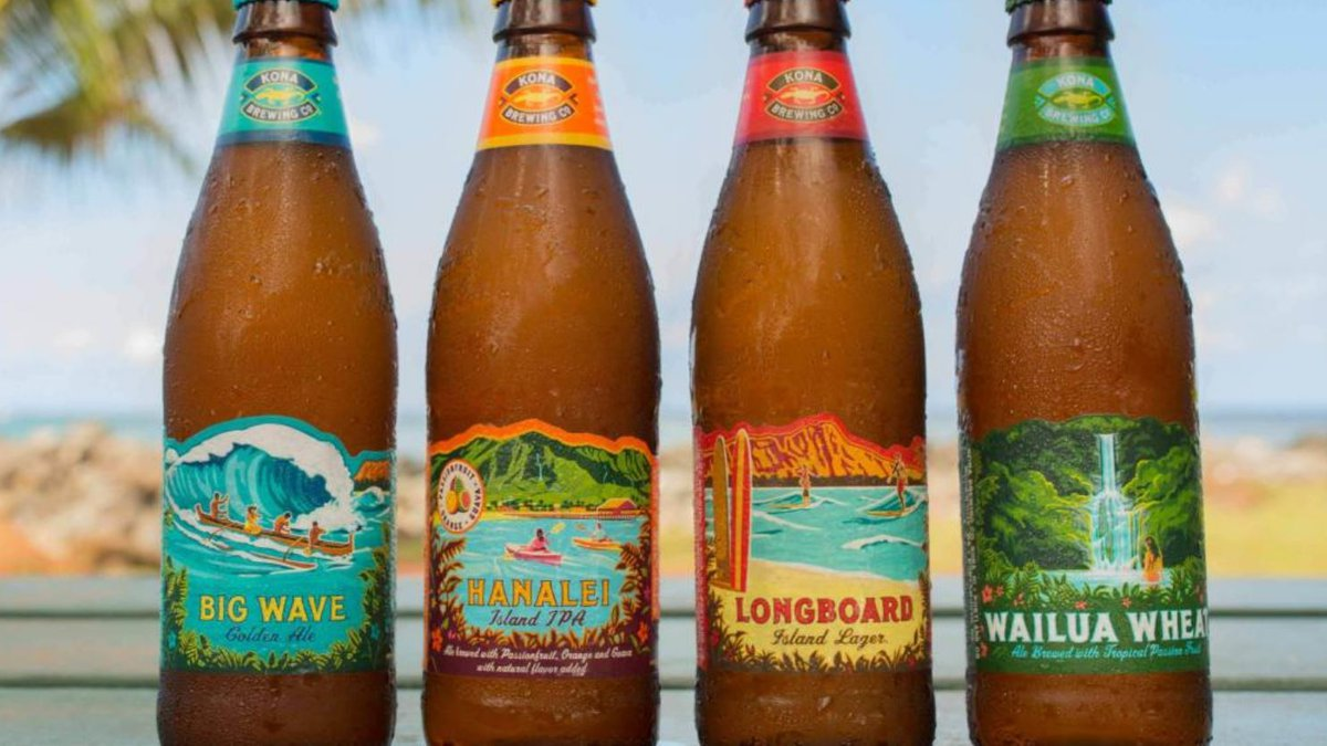 Their beers are colorfully labeled with scenes of Hawaii.