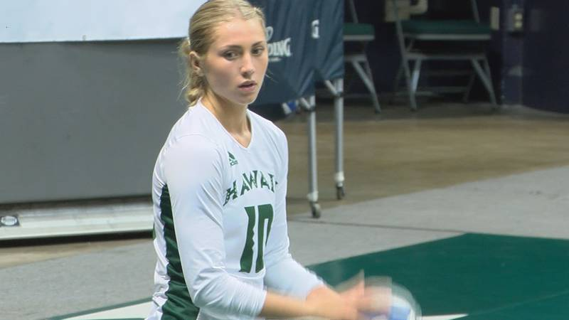 The University of Hawaii Rainbow Wahine volleyball team took down Cal State Fullerton in a five...