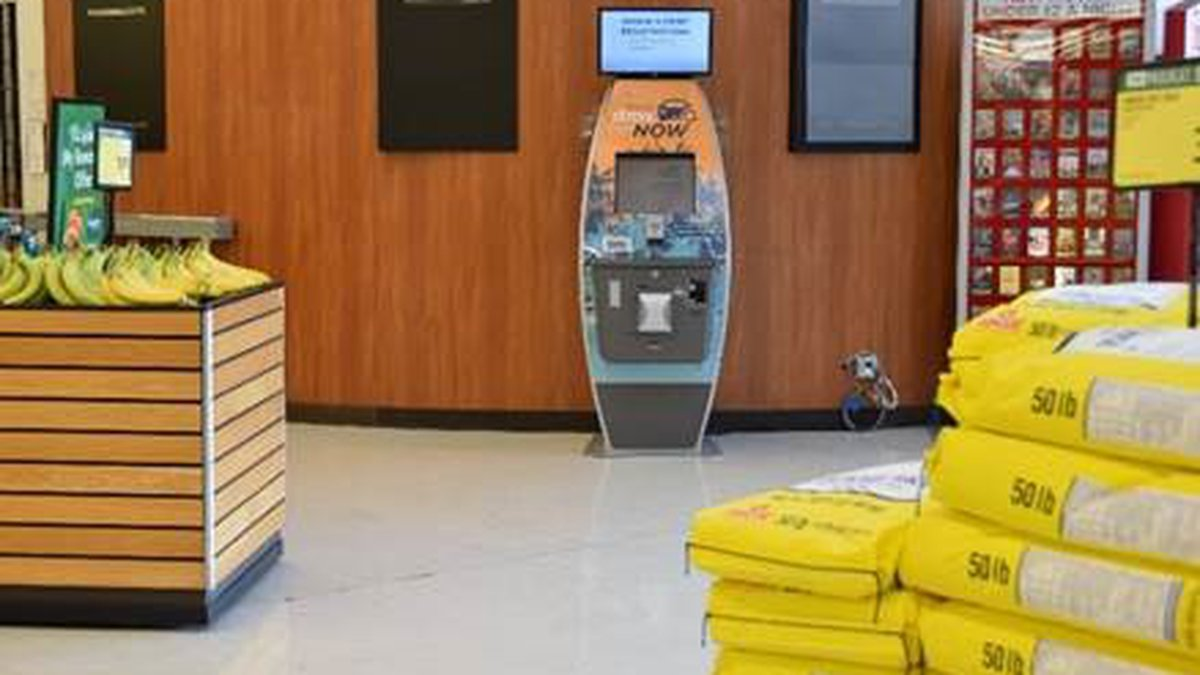 DMV Now kiosk occupies space in produce section of a Sack n Save grocery store in Halawa.