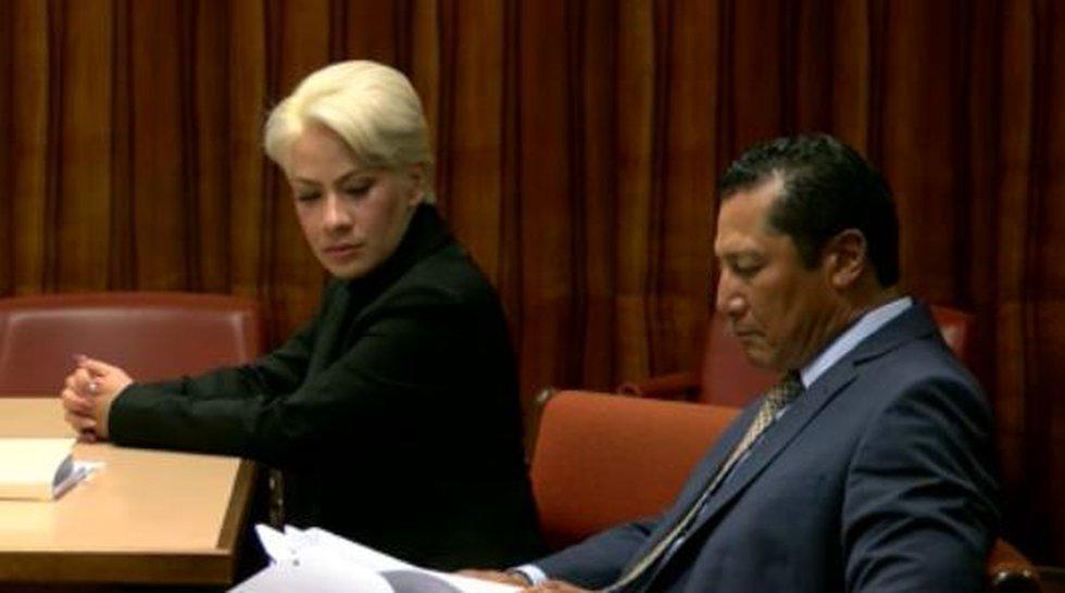 Tiffany Masunaga in court with her attorney William Harrison