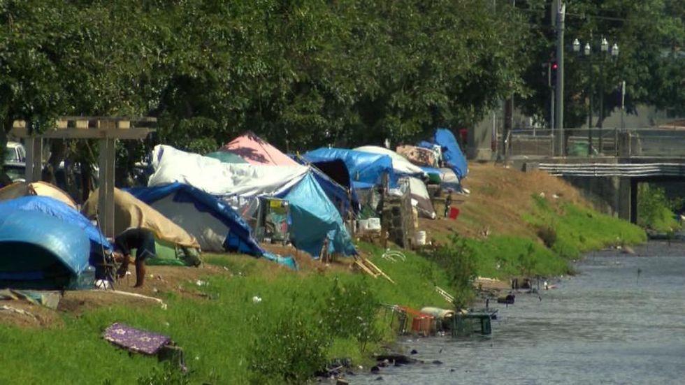 Homeless tents along Kapalama canal