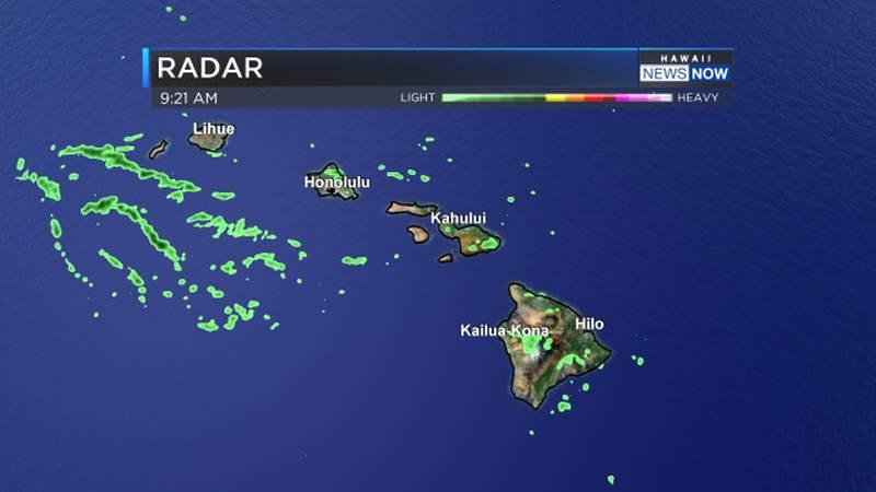 Radar shows moisture from former Hurricane Linda near the western end of the Hawaiian island...