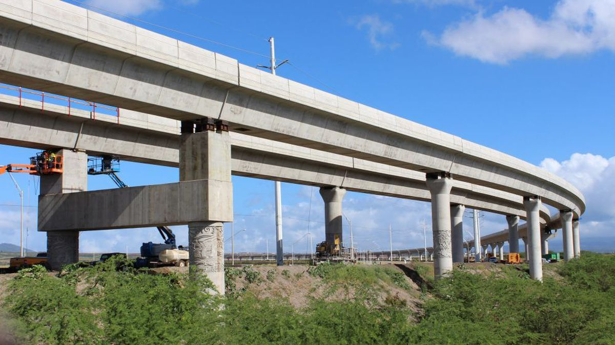 Construction on a portion of Oahu's rail project takes place near Kapolei.