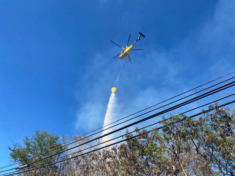 Maui firefighters were working to put out the flames Tuesday afternoon.