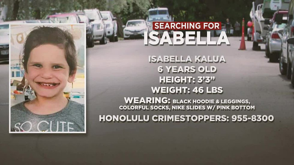 """Isabella """"Ariel"""" Kalua, 6, was reported missing Monday."""