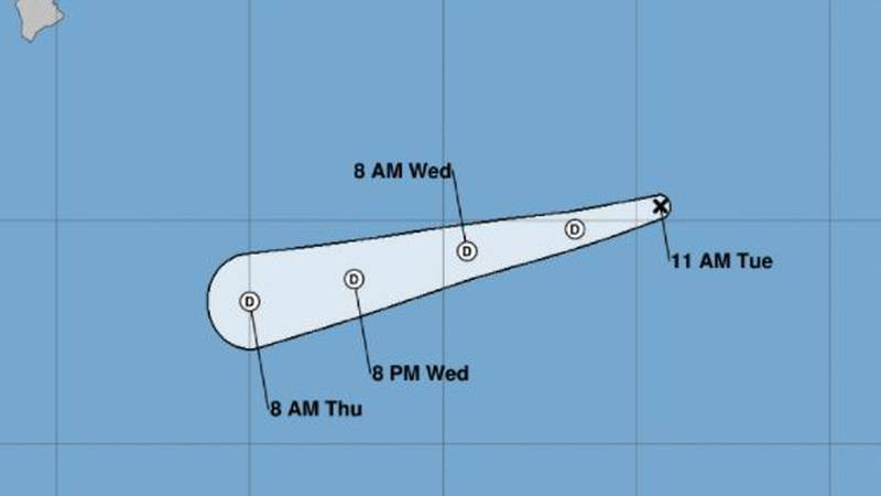 Felicia is now a tropical depression as it moves into the Central Pacific.