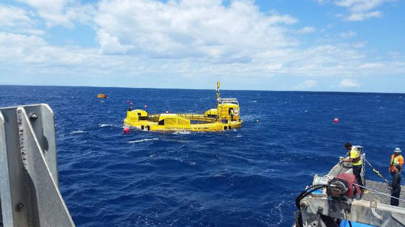The Hawaii Natural Energy Institute tested two different devices that convert wave power into...