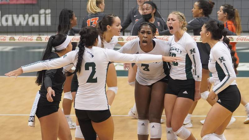 The University of Hawaii Rainbow Wahine volleyball team continued their winning ways in the Big...