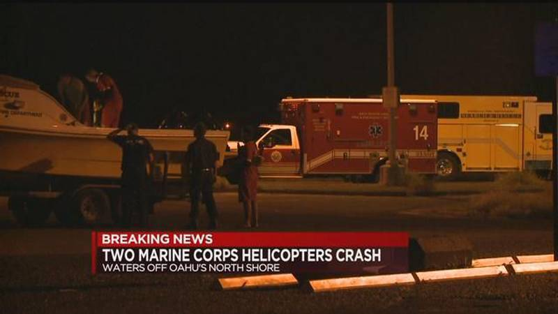 Crews searching for 12 on board 2 Marine Corps helicopters that crashed off Oahu's North Shore...