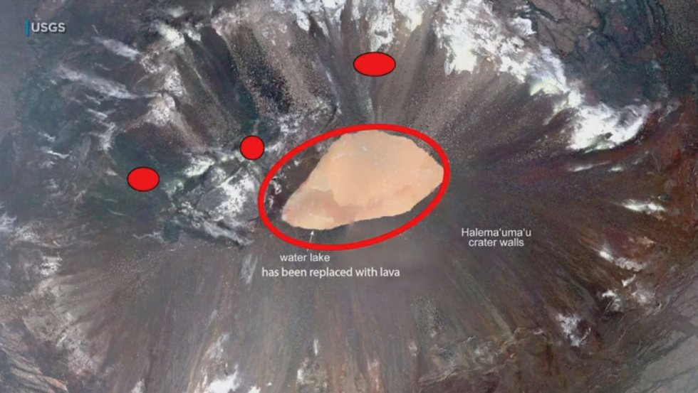 This aerial view shows the lake that was once within the crater. The three red dots indicate...