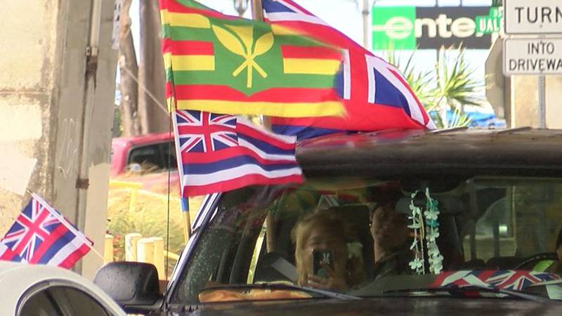 Native Hawaiian rights advocates participated in the convoy Sunday.