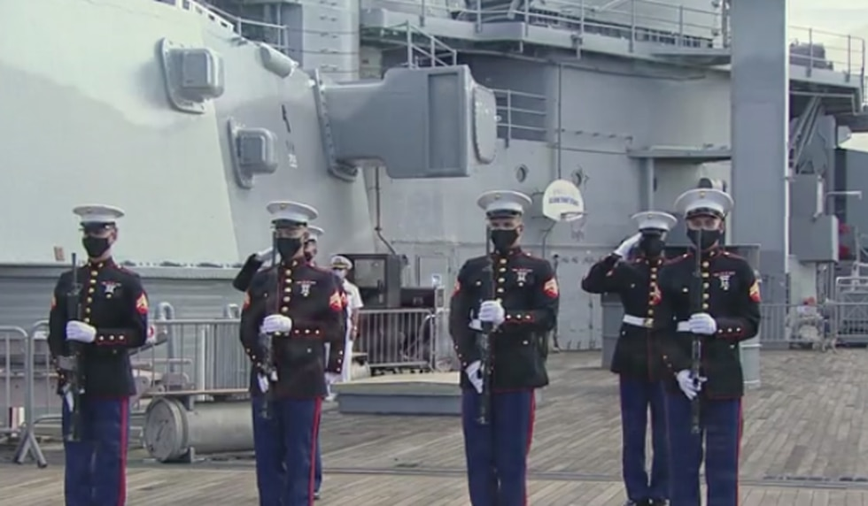 A somber ceremony took place Wednesday aboard the USS Missouri to mark the 75th anniversary of...