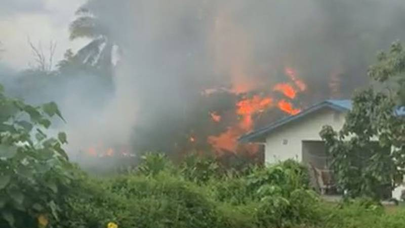 An apparent explosion started a fire at a home in Pahoa on the Big Island.