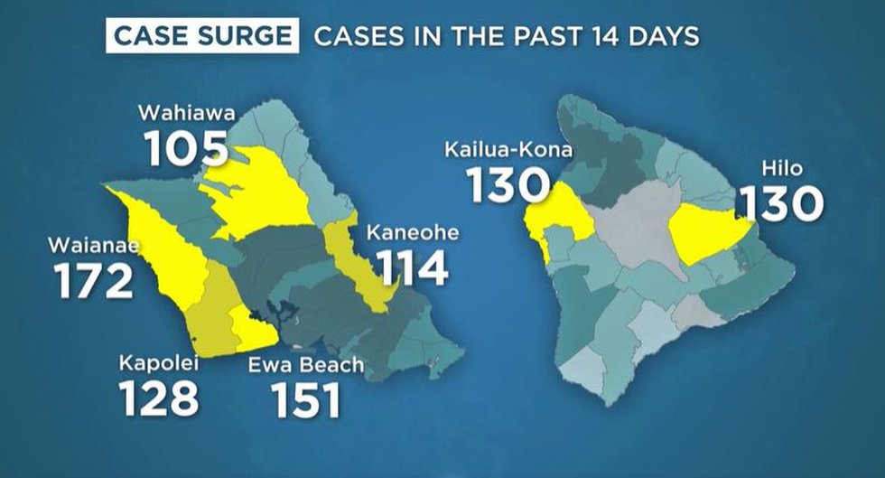 Amid surge in cases, state reports high COVID infections in certain areas of Oahu, Big Island