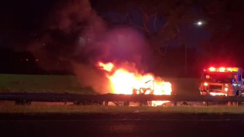 New video showed the vehicle fully engulfed in flames as HFD responded Sunday before dawn.