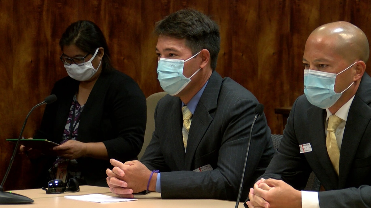 Kramer Aoki sits alongside his attorney in court Tuesday.