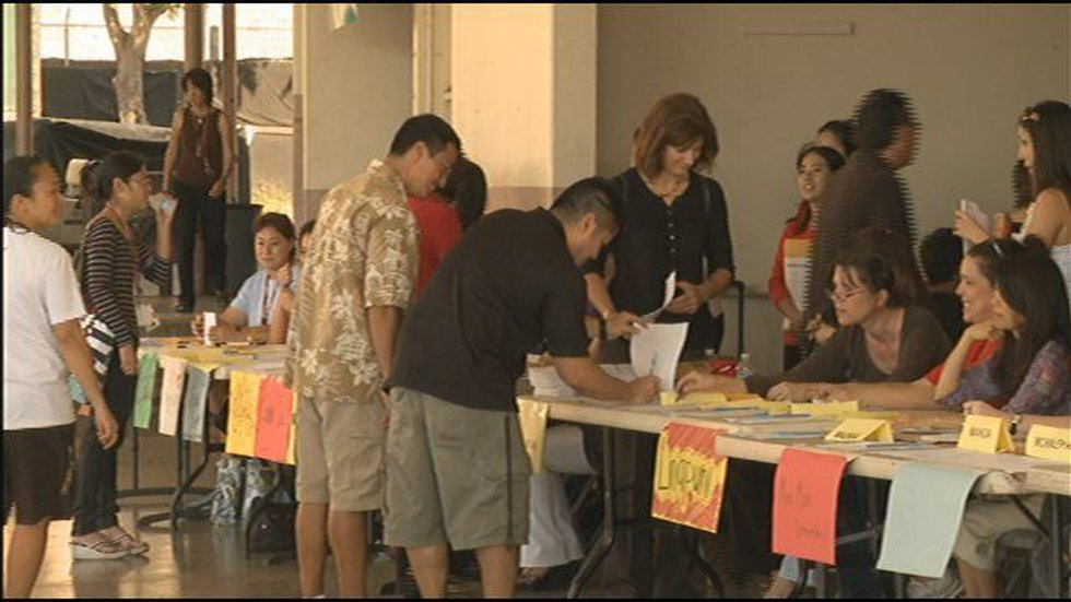 Some HSTA members voted on the contract proposal at Farrington High School.