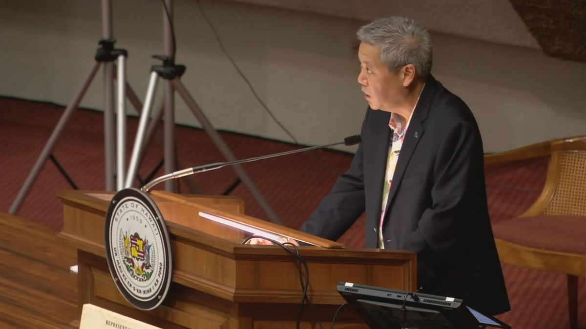 Rep. Scott Saiki, the Speaker of the Hawaii House of Representatives, speaks in the chamber on...