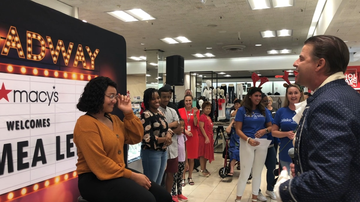 She was recently surprised at Macy's when she learned her wish was coming true.
