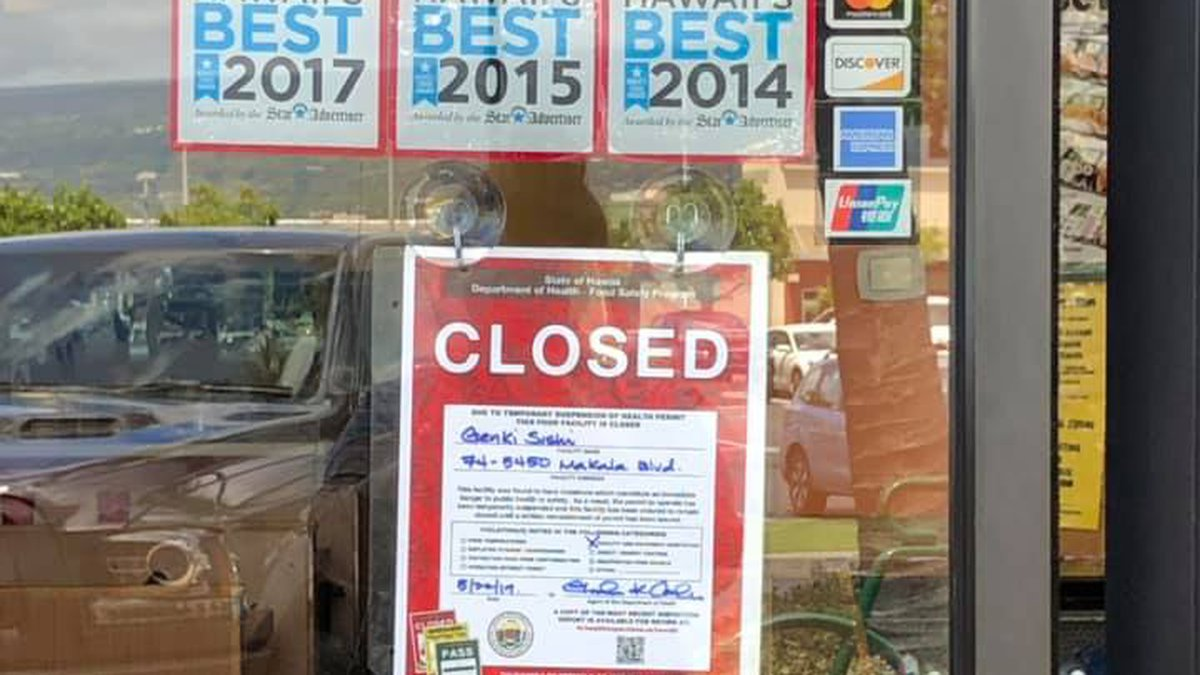 The Kona Genki Sushi location was shut down after the inspection.