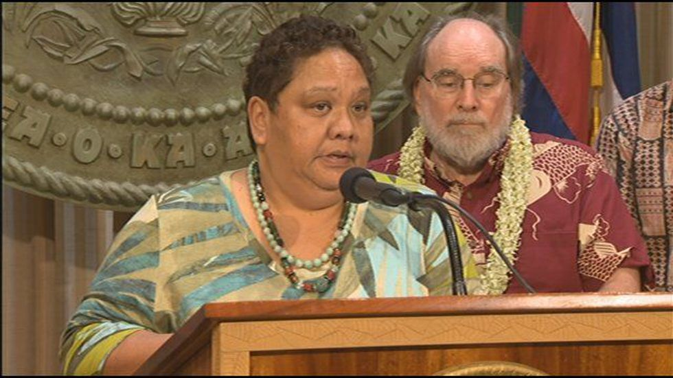 OHA Chairperson Colette Machado & Governor Neil Abercrombie