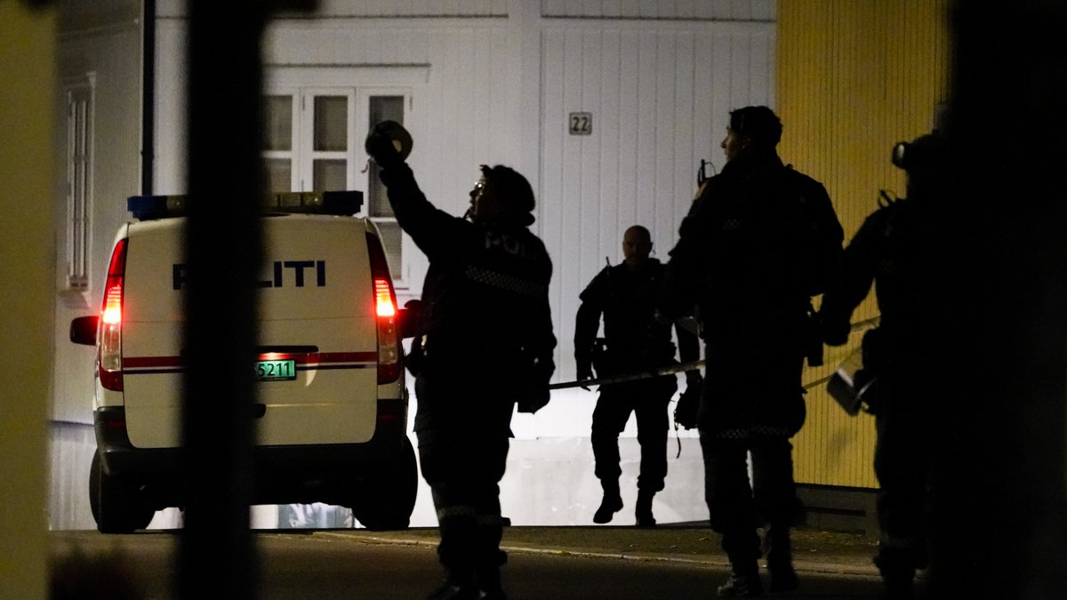 Police at the scene after an attack in Kongsberg, Norway, Wednesday, Oct. 13, 2021. Four women...