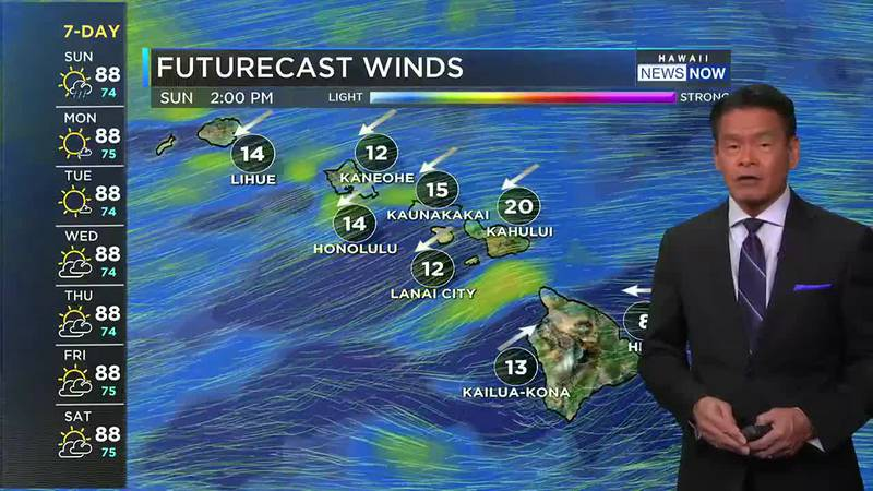 The winds will be light to moderate for most of the coming week.