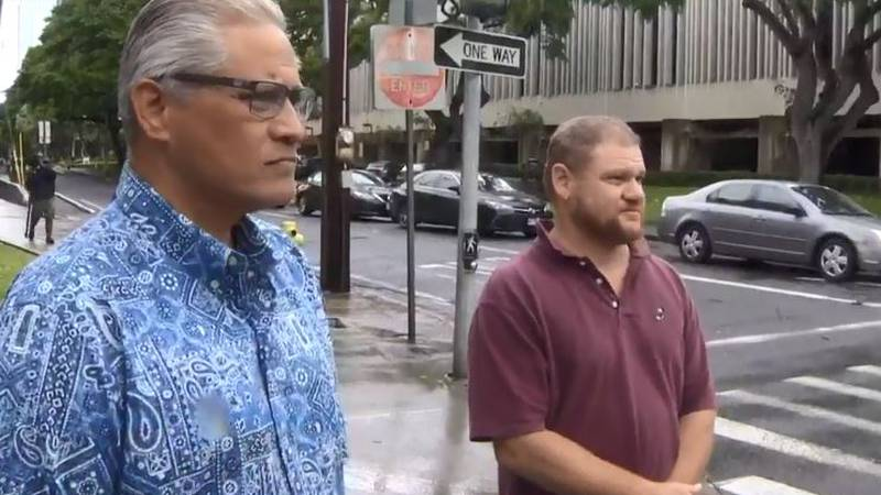 Dr. Rudy Puana, right, stands with ex-Police Chief Louis Kealoha.