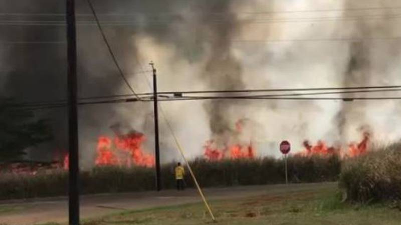 Firefighters continue to battle a brush fire in Central Oahu.