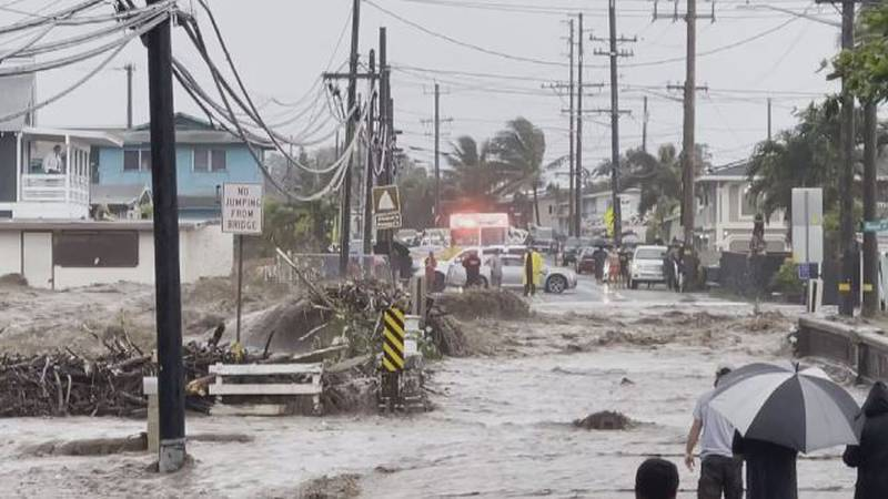 Torrential rains triggered major flooding in Windward Oahu on Tuesday.